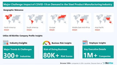 Snapshot of key challenge impacting BizVibe's steel product manufacturing industry group.