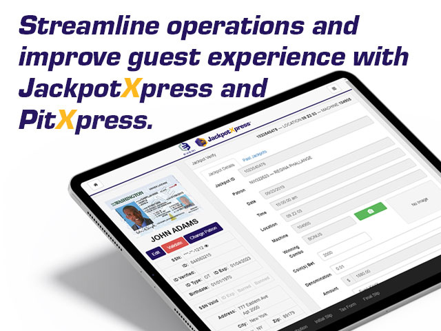 The award-winning Jackpot Xpress® solution enables attendants to securely and efficiently process and pay jackpots using a mobile device (Jackpot Xpress Mobile) or an Everi JackpotXchange® kiosk.
