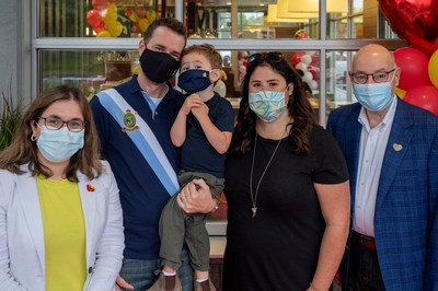On Wednesday, McDonald's celebrated its 27th McHappy Day in Canada, raising more than $4.5 million. Representatives from McDonald's and RMHC Canada joined the Hillier family, who spent 212 nights at a Ronald McDonald house while their son Adam was healing. (CNW Group/McDonald's Canada)